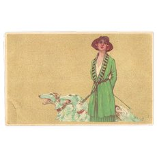 Italian Art Nouveau Postcard Lady  with Borzios