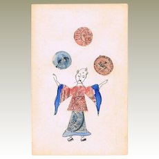 Funny Postcard made of Stamps Chinese Juggler