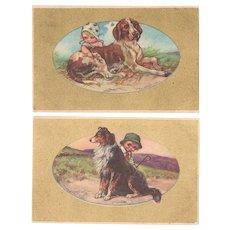 Two Italian Art Nouveau Postcard Kids and Dogs