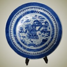 Antique Chinese Plate blue white Decorative Kangxi Revival
