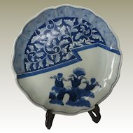 Scarce Antique Japanese Imari Plate Blue White