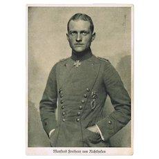 Manfred Freiherr von Richthofen. Vintage Postcard depicting this famous pilot in Uniform.