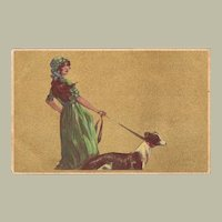 Young Lady and Greyhound Art Deco Postcard