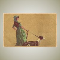 Young Lady and Greyhound. Art Deco Postcard
