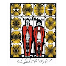 Gilbert and George Autographs on Artist Postcard
