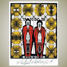 Gilbert and George Autographs on Artist Postcard