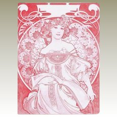 Old Art Nouveau Menu. Alphonse Mucha design.