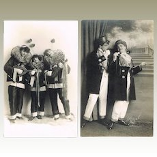 Two Photo Postcards with Harlequins