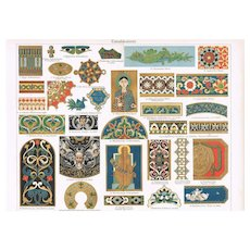 Antique Chromolithograph: Enameled Paintings, Graphic from 1898