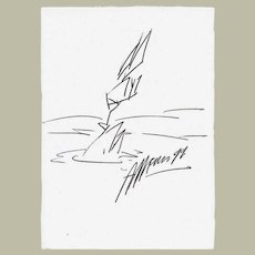 Christian Ludwig Attersee Drawing Signed CoA