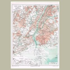 New York Two Old Maps from 1902