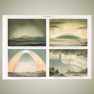 Polar Lights. Old Lithograph from 1902