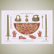 German Imperial Regalia Chromo Lithograph 1900