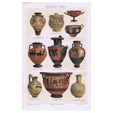 Greek Vases: 2 Lithographs from 1902