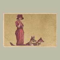 Italian Art Nouveau Postcard Lady with Two Dogs