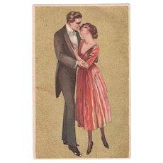 Italian Art Nouveau Postcard with Couple