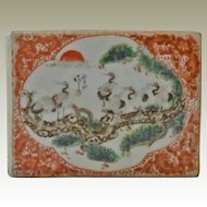 Old Chinese Cubic Porcelain Pillow with Cranes. Artist Signed