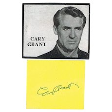Cary Grant Autograph: Sheet with Partrait and Authentic Signature CoA