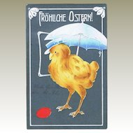 Vintage Easter Postcard with Chicken under Sun Shade