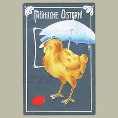 Vintage Easter Postcard with Chicken under Sun Shade