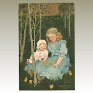 Decorative Easter Postcard Children and Chicken 1909