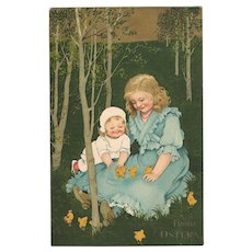 Decorative Easter Postcard Children and Chicken 1909