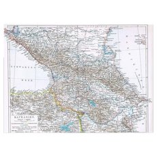 Caucasian Map Black Sea to Caspian Sea 1900