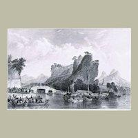 Antique Etching Yangzhou Pass by Thomas Allom