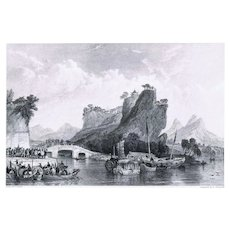 Antique Etching Yangzhou Pass by Thomas Allom