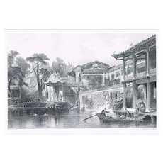 Antique Etching Merchant in Canton by Thomas Allom