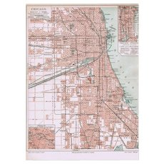Antique Chicago Map Lithographed 1900