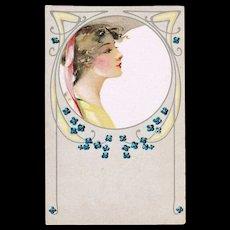 Art Nouveau Postcard with Pretty Lady