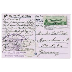 US Zeppelin Mail USA to Germany 1933