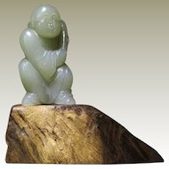 Chinese Jade Figurine with Boy and Maize