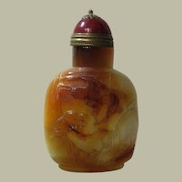 Chinese Agate Snuff Bottle Eagle and Pine Tree