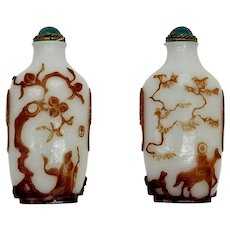 Outstanding Antique Chinese Snuff Bottle 19 Ct Overlay