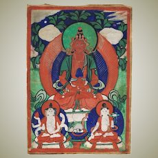 Antique Mongolian Thangka 19 ct