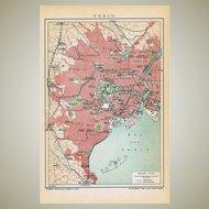 Antique Map Tokyo Japan 1901