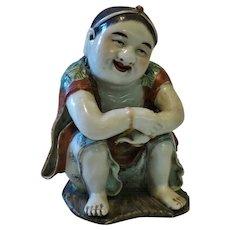 Chinese Daoist Liu Haichan as Porcelain Figurine Qing Dynasty