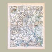 Central East China Map from 1900 Lithographed