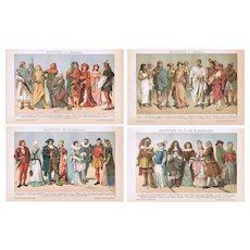 Antique Costumes. Four Decorative Chromo Lithographs from 1898