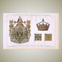 German Emperor Coat of Arms Crown and Pennants