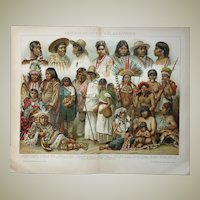 American Ethnic Groups: Old Chromo Lithograph from 1898