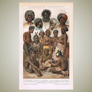 Australian Peoples Antique Lithograph from 1898