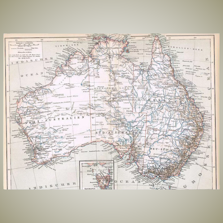 Australia Map 1900.Two Antique Austrialia And Sidney Maps From 1900 Lithograph