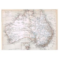 Two Antique Austrialia and Sidney Maps from 1900 Lithograph