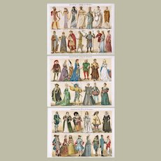 Three Antique Chromo Lithographs with Costumes Through The Ages