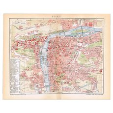 Antique Prague Map from 1900