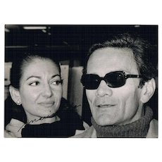 Most Desireable Maria Callas Autograph on Candid Photo with Pasolini. CoA