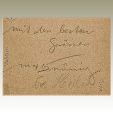 Max Bruening Autograph on Postcard CoA